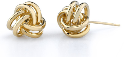 Love Knot Earrings, 14K Yellow Gold