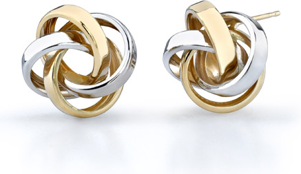 Love Knot Earrings, 14K Two-Tone Gold