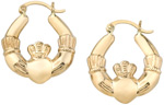 Claddagh Hoop Earrings, 14K Yellow Gold