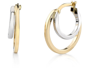 14K Two-Tone Gold Dual Hoop Earrings