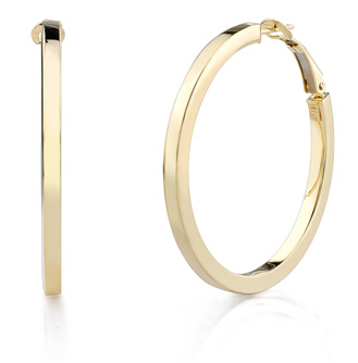 Flat Italian Hoop Earrings, 14K Yellow Gold