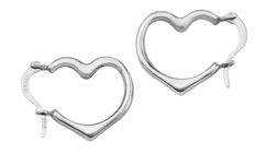 Heart Hoop Earrings, 14K White Gold
