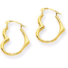 Heart Hoop Earrings, 14K Gold