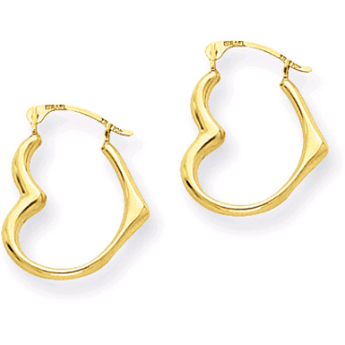 Heart Hoop Earrings, 14K Gold