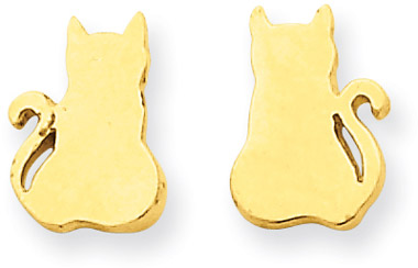 14K Yellow Gold Cat Earrings