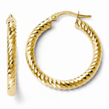 Diamond Cut Rope Design Hoop Earrings in 14K Yellow Gold