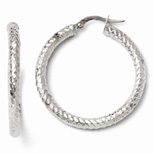 Diamond Cut Textured Hoop Earrings in 14K White Gold