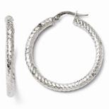 Diamond Cut Textured Hoop Earrings in 14K White Gold