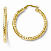 Diamond Cut Textured Hoop Earrings in 14k Yellow Gold