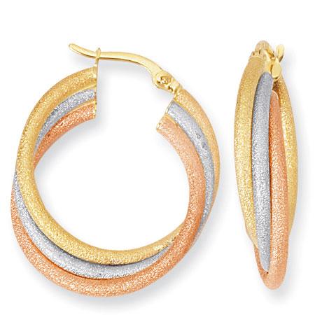 Large 14K Sandblasted TriColor Gold Hoop Earrings