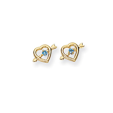 March Birthstone Aquamarine Heart and Arrow Stud Earrings in 14K Yellow Gold