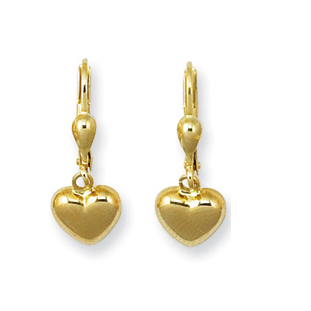 Petite Heart Drop Earrings in 14K White Gold