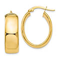 Wide 14K Yellow Gold Polished Oval Hoop Earrings