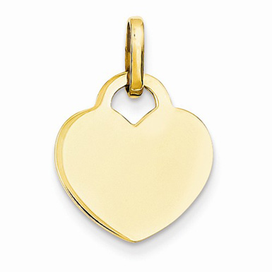 14K Yellow Gold Engravable Heart Charm