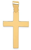 14K High Polish Yellow Gold Cross Pendant