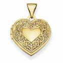 14K Yellow Gold Scroll Heart Locket
