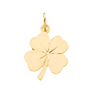 4 Leaf Clover Charm Pendant in 14K Solid Gold