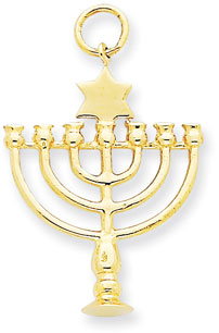 14K Yellow Gold Menorah Charm