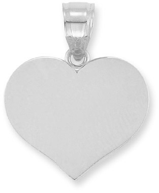 Engraveable Heart Pendant in 14K White Gold