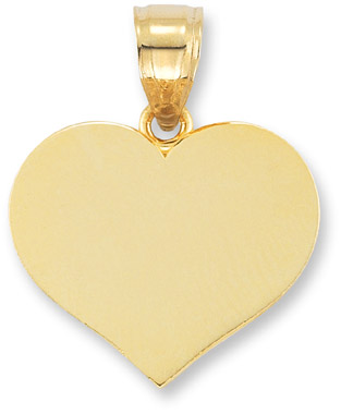 Engraveable Heart Pendant in 14K Yellow Gold