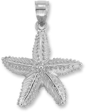 Starfish Pendant in 14K White Gold