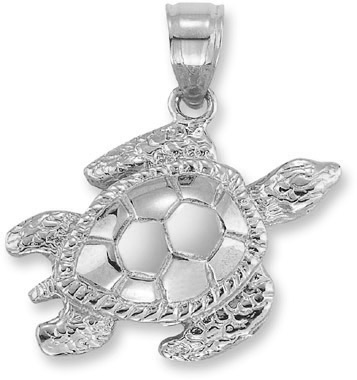Sea Turtle Pendant in 14K White Gold