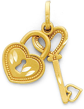 14K Yellow Gold Diamond Cut Polished Key & Lock Pendant