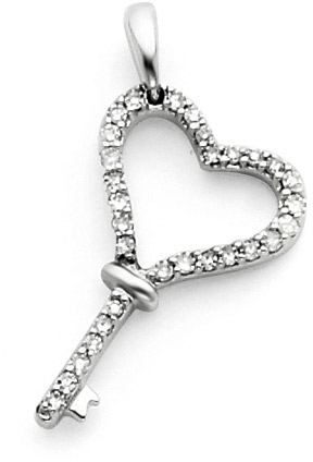 14K White Gold and Diamond Heart Key Pendant