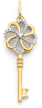 14K Gold and Diamond Pinwheel Key Pendant