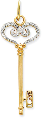 14K Yellow Gold and Diamond Filigree Heart Key Pendant