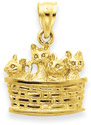 Basketful of Kittens 14K Yellow Gold Pendant