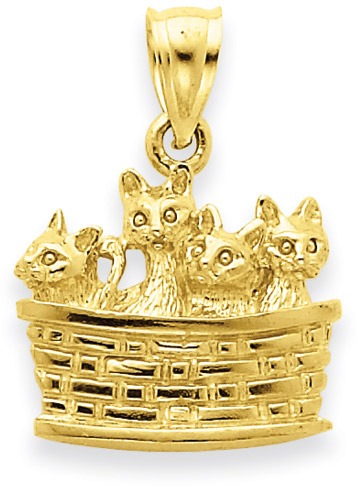 Basketful of Kittens 14K Yellow Gold Pendant
