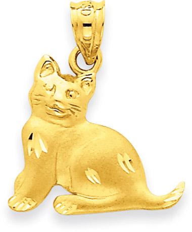 18 mm 14K Yellow Gold Cat Pendant