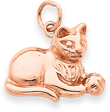 14K Rose Gold Cat with Yarn Pendant
