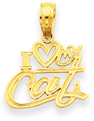 14K Yellow Gold I Love My Cat Pendant