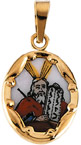 Hand Painted Moses Porcelain Medal in 14K Yellow Gold