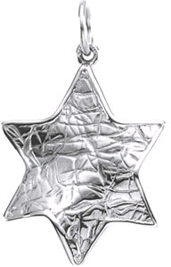 14K White Gold Textured Star of David Pendant