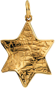14K Yellow Gold Textured Star of David Pendant