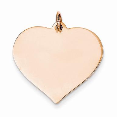 Engravable 14K Rose Gold Heart Charm Pendant