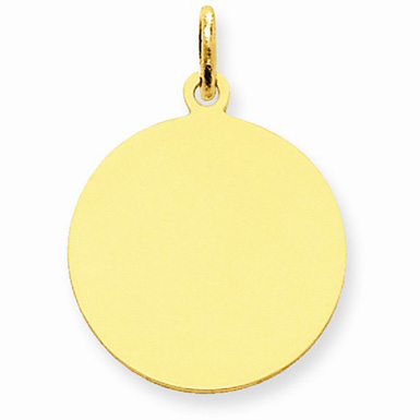 High Polished 14k Gold Disc Charm