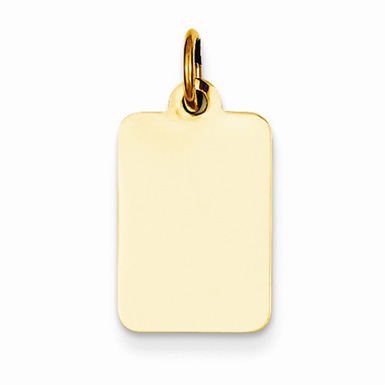 Engravable 14K Yellow Gold Rectangular Charm