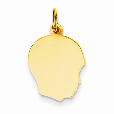 Engravable Boy Head Charm in 14K Yellow Gold