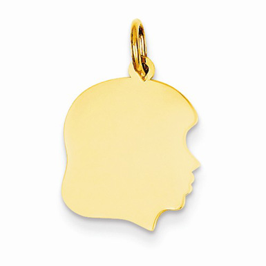Engravable Girl Head Charm in 14K Yellow Gold