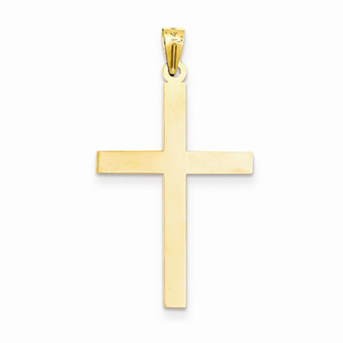 Plain High-Polished Cross Pendant in 14K Yellow Gold