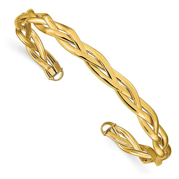 Italian 14K Gold Braided Cuff Bracelet
