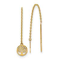 Tree of Life Threader Earrings, 14K Gold