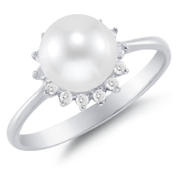 7mm Cultured Pearl and Diamond Crown Ring, 14K White Gold