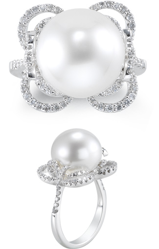 13mm Cultured South Sea Pearl Lotus Ring with 0.55 Carat of Diamonds