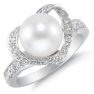 9mm Naturally Cultured South Sea Heart Shaped Pearl Ring, 14K White Gold