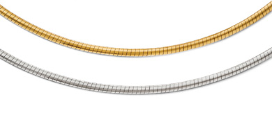 2.5mm Reversible 14K Two-Tone Gold Omega Necklace in 16